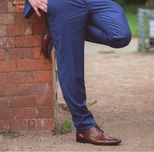Slim suit trousers require a shorter out-seam length to accommodate the narrow cuff width.